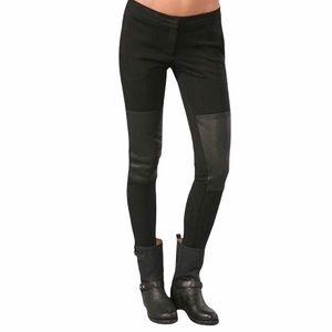 Theory Tinysa Leather Patch Moto Ponte black pants